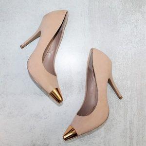 Shoe Dazzle Ann Blush & Gold Cap Toe Pumps